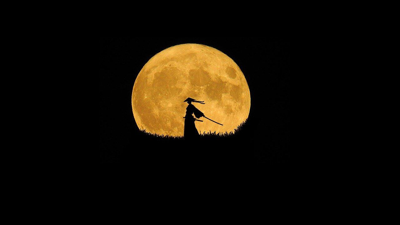 月夜を背景にサムライが立っている